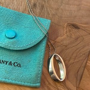 Tiffany and Co. 925 Silver Geometric Oval necklace